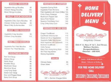 Korner Kitchen Pizza King Menu